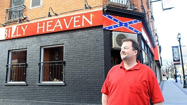 Cameron Bailey says people are overreacting to his use of the Confederate flag to advertise his Hillbilly Heaven eatery. Opponents say it's an unwelcome sight in Hamilton's downtown. (Samantha Craggs/CBC)
