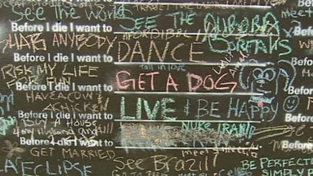 People have used the Vancouver blackboard to present a whole range of wishes for their lives.
