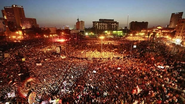 Thousands of Egyptians gather in Tahrir Square in Cairo Saturday to call for a new revolution in Egypt after former leader Hosni Mubarak was acquitted of corruption charges. they were unmoved by his life sentence for failing to stop the killing of protesters last year.