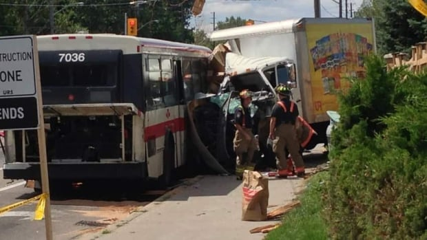 Witnesses said the cube van might have been trying to make a left turn off of Steeles Avenue when it veered into the oncoming lanes, mounted the curb and smashed into an idling TTC bus.