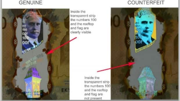 Fake bills lack the flag and the numbers, New Westminster police say.