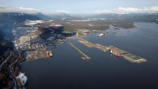 Douglas Channel, the proposed termination point for an oil pipeline in the Enbridge Northern Gateway Project, is pictured in an aerial view in Kitimat, B.C.