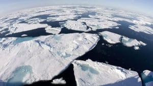 Ice floes float in Baffin Bay above the Arctic circle. Politicians, policy makers and Scientists are in Stockholm, Sweden hammering out the language for the first part of the Intergovernmental Panel on Climate Change's fifth Assessment Report.