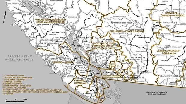 Five of B.C.'s six new federal ridings will be added in the Lower Mainland. Federal Electoral Boundaries Commission for B.C.