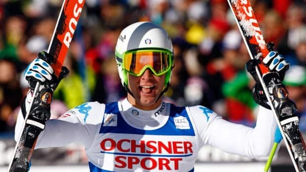Matteo Marsaglia from Italy reacts on the finish area after his run in the men's World Cup super-g ski race in Beaver Creek, Colo., on Saturday.