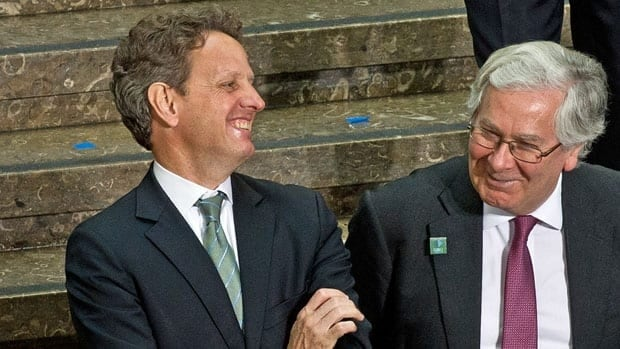 The Governor of the Bank of England, Mervyn King, right, shared a laugh with U.S. Treasury Secretary Timothy Geithner at a G20 meeting finance ministers in April. King said Tuesday that U.S. authorities did not show him any evidence of manipulation when they raised concerns about LIBOR in 2008.