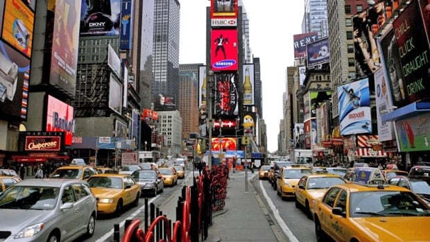 Traffic crawls south through Times Square at 45th Street in New York, in this 2007 photo. The city's Department of Transport is finally removing its 'Don't Honk' signs as part of an anti-clutter campaign.