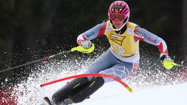 Marie-Michèle Gagnon, shown here competing earlier this month, won the Canadian women's slalom title for the fourth straight time on Tuesday.