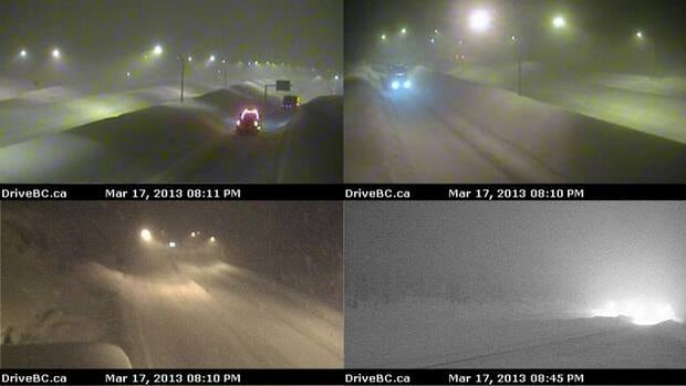 DriveBC webcam images at and near the Coquihalla Summit showed snowy conditions Sunday night.