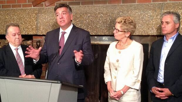 From left, Natural Resources Minister Michael Gravelle, Minister of Finance Charles Sousa, Ontario Premier Kathleen Wynne and Thunder Bay-Atikokan MPP Bill Mauro, gathered in Thunder Bay on Sept. 3.