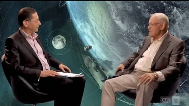A screen grab from an interview with former astronaut Neil Armstrong, right, conducted by Alex Malley, CEO of the Certified Practicing Accountants of Australia. The full interview is posted on the organization's website, http://thebottomline.cpaaustralia.com.au.