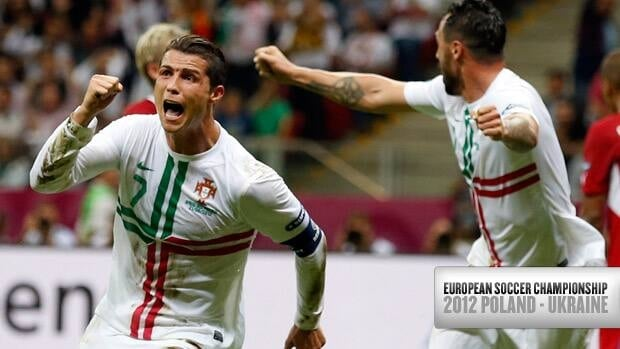 Portugal forward Cristiano Ronaldo, left, celebrates his goal against the Czech Republic on Thursday at the European championship in Warsaw.