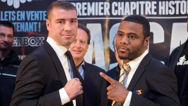 Lucien Bute, left, and Jean Pascal face off after their news conference Tuesdayin Montreal. The two Quebec boxers will face each other May 25 at the Bell Center.