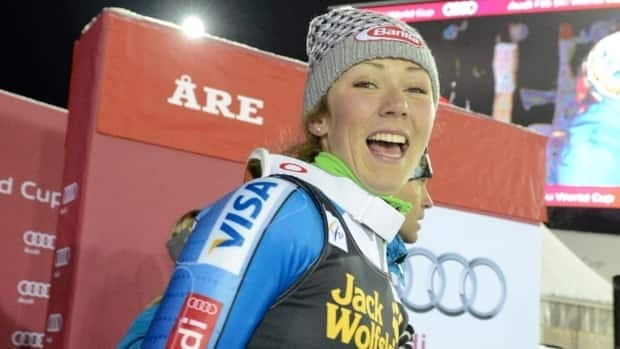 Mikaela Shiffrin, of the United States, smiles after winning Thursday's women's World Cup slalom event, in Are, Sweden.