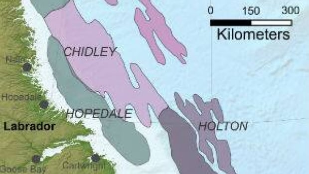 This map shows basins that have been discovered off the coast of Labrador. Nalcor Energy