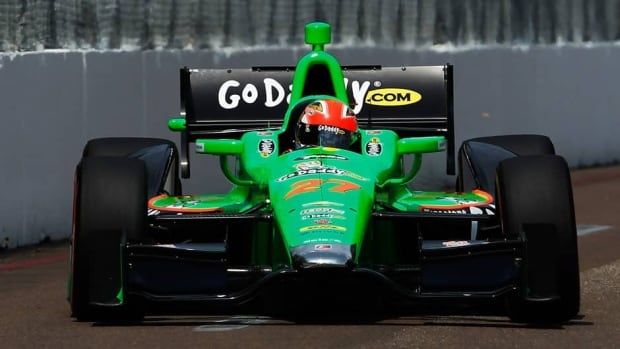 Canadian driver James Hinchcliffewon the IZOD IndyCar Series Honda Grand Prix of St Petersburg on Sunday in St. Petersburg, Florida.