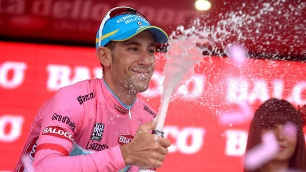 Italy's Vincenzo Nibali wears the overall leader's pink jersey at the Giro d'Italia. He's a favourite to win the event, along with Bradley Wiggins of Britain and defending champion Ryder Hesjedal of Victoria, B.C.