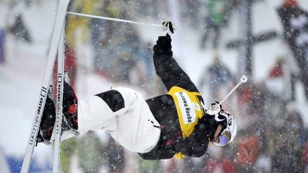 Canada's Mikael Kingsbury, shown here last month, won bronze on Saturday in dual moguls.