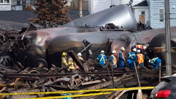 About 5.7 million litres of light crude oil spilled into the heart of Lac-Mégantic when a train derailed on July 6.