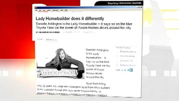 A newspaper story celebrates Edmonton's lady homebuilder before she left several families with unfinished and shoddily-built homes.
