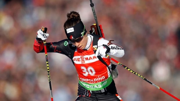 Megan Imrie of Canada is seen here competing at the Biathlon World Championships in Germany in March of 2012. Imrie is one of several Canadian athletes using the website Pursuit to raise money to reach their dream of making the Olympics.