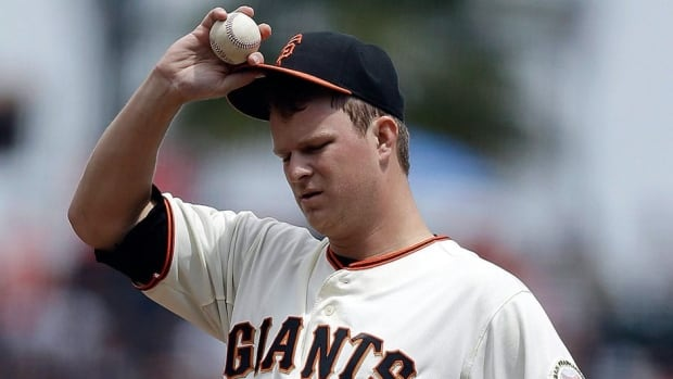 San Francisco Giants starting pitcher Matt Cain is 8-8 with a 4.43 ERA this season in 26 starts over 156 1-3 innings.