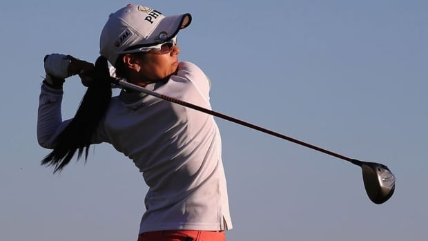 Ai Miyazato of Japan hits a tee shot on the 18th hole during the first round of the RR Donnelley LPGA Founders Cup at Wildfire Golf Club on Thursday in Phoenix, Ariz.