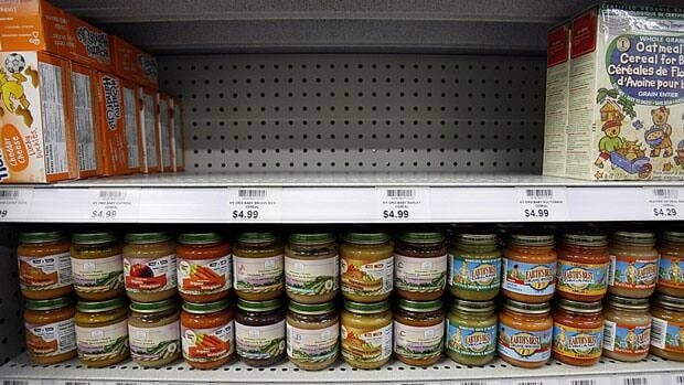 A shelf sits empty where My Organic Baby cereals used to sit before being pulled from the shelves of a Toronto store in 2008 because of safety concerns. Health Canada is announcing new fines today if stores do not pull products.