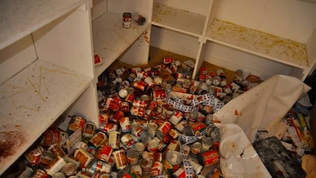 Vandals destroyed most of the food items stored in the building.
