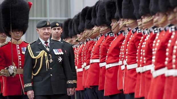 A ceremonial foot guard collapsed in just the third day of inspection by Gov. Gen. David Johnston.