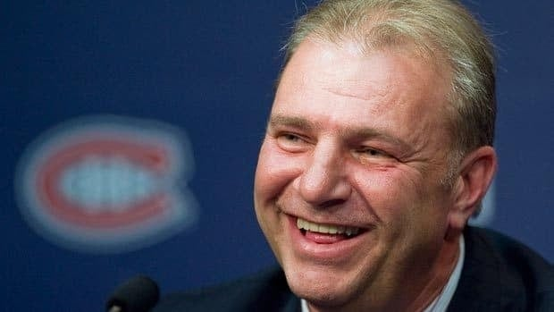 Michel Therrien talks to reporters at the Bell Sports Complex in Brossard, Que., on Tuesday.