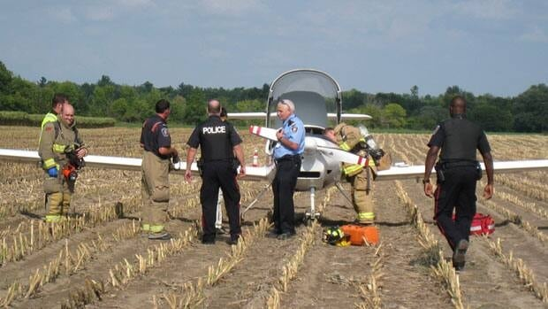 A small airplane was forced to make a landing in a corn field near the Ottawa Airport on Wednesday. Photo courtesy Bill McCrum