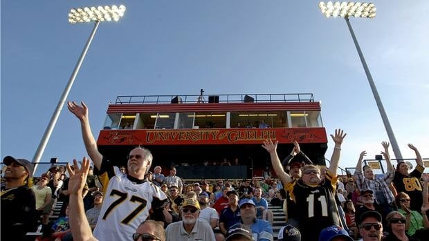 Hamilton Tiger-Cats fans cheer in their new temporary home at Alumni Stadium in Guelph as CFL pre-season action on June 20, 2013. Hamilton fans are reputed to be among the rowdiest in the CFL.