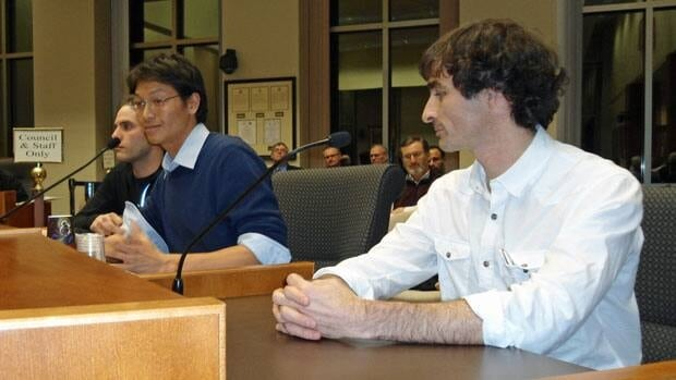 Dan Morrison, Winston Loh and Mark Howard make a presentation to Thunder Bay council on Monday as Friends of the Lakehead Psychiatric Hospital Green space.