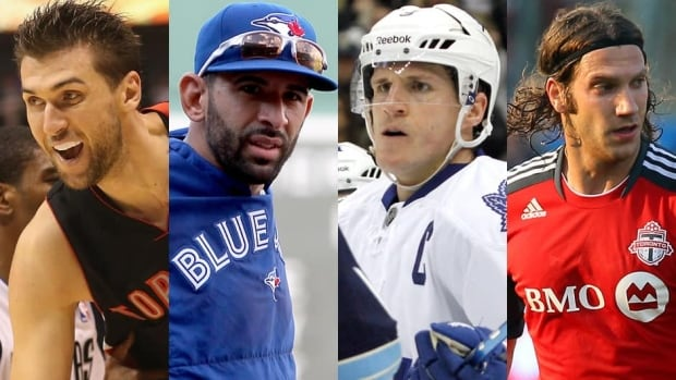 Toronto's hopes for a non-CFL sports championship rests in the hands of (from left to right) the Raptors' Andrea Bargnani, the Blue Jays' Jose Bautista, the Leafs' Dion Phaneuf, and the TFC's Torsten Frings.