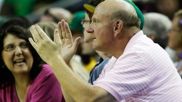 Microsoft CEO Steve Ballmer, seen at a charity basketball game in 2011, is looking to bring the NBA back to the Emerald City.