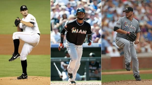 Miami Marlins' Josh Johnson, left, Jose Reyes, centre, and Mark Buehrle highlight the the blockbuster deal with the Toronto Blue Jays.