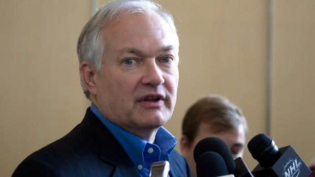 The NHLPA's Donald Fehr talks to journalists after leaving talks in Toronto on Monday.