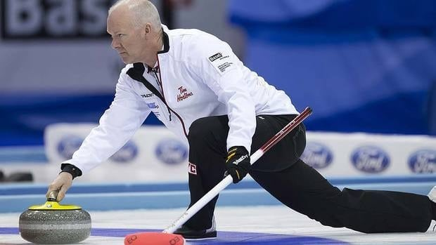 Canada's skip Glenn Howard delivers a stone during Saturday's Page 1-2 playoff. He prevailed 7-6 over Scotland's Tom Brewster in 11 ends and advances to Sunday's final.
