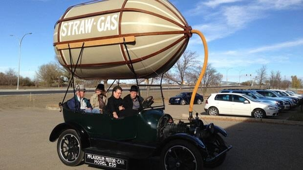 A replica of a car designed to operate on straw-gas was built for display at the Western Development Museum in Saskatoon.