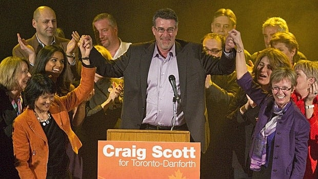 NDP candidate Craig Scott easily won Monday's byelection in Jack Layton's former riding of Toronto-Danforth.