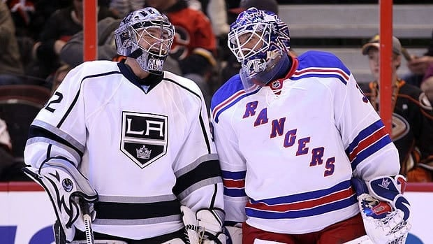 Jonathan Quick of Los Angeles, left, and New York Rangers goalie Henrik Lundqvist share a laugh at the 2012 NHL All-Star Game in January.