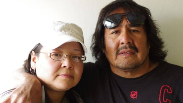 Angele Kamalatisit says she was kicked out of Sandy Lake First Nation because of her husband, Ringo Fiddler's political views.