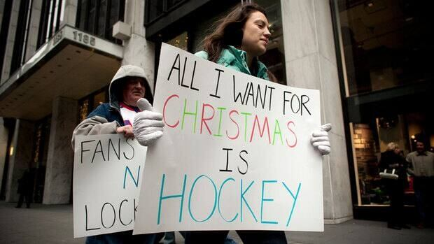 Fans protested outside the NHL's headquarters in Manhattan this weekend.