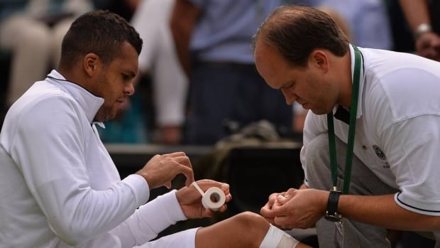 Jo-Wilfried Tsonga hasn't played a match since injuring his knee at Wimbledon here on June 26.