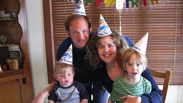 Actors Mike Rinaldi, top left, and Juno Ruddell celebrate Rinaldi's birthday with their two sons earlier this year.