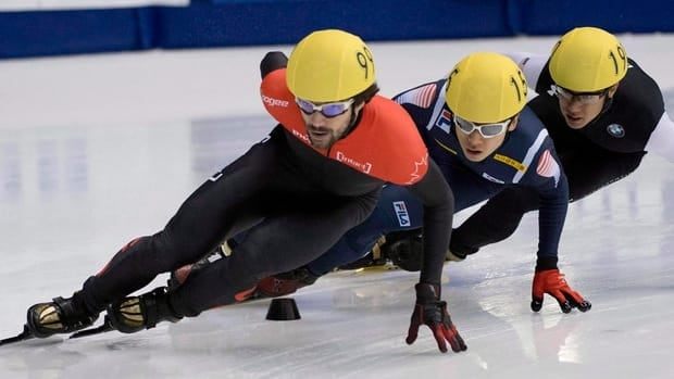 Charles Hamelin, shown in this file photo at left,  continued his torrid start to the World Cup season, picking up a bronze in the 1,500 metre event in Japan on Saturday.