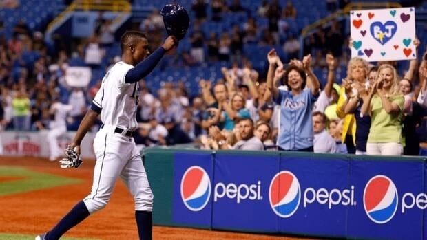 B.J. Upton tips his hat to the crowd during the Tampa Bay Rays' season finale against the Baltimore Orioles at Tropicana Field on October 3, 2012. It's expected to be announced Thursday that Upton has signed a five-year deal with the Atlanta Braves.