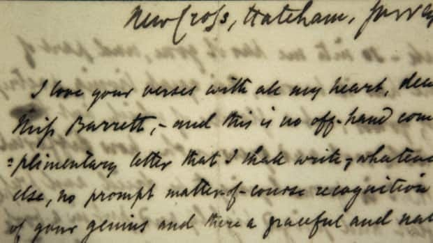 The first love letter sent by poet Robert Browning to poet Elizabeth Barrett in January of 1845 begins: I love your verses with all my heart, dear Miss Barrett. All their letters are now viewable online.