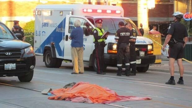 A male pedestrian was pronounced dead on scene after being struck by a vehicle on Queen Street West early Friday night.